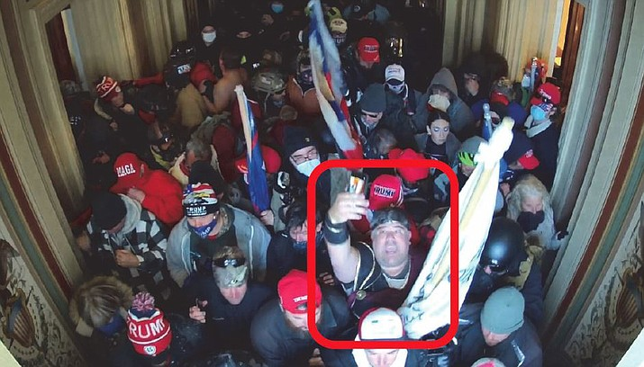 This image, one of several included in a federal court complaint filed this week, appears to show Nathan W. Entrekin of Cottonwood at the Jan. 6 insurrection at the U.S. Capitol. Entrekin was arrested Thursday in Cottonwood and charged with two federal crimes. Courtesy of U.S. District Court for District of Columbia