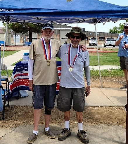 Jay Mast and Hal Handelmon took first-place honors in the June 19, 2021, 10th annual Jerry Germain Memorial Horseshoe Tournament. (Gary Streeter/Courtesy)