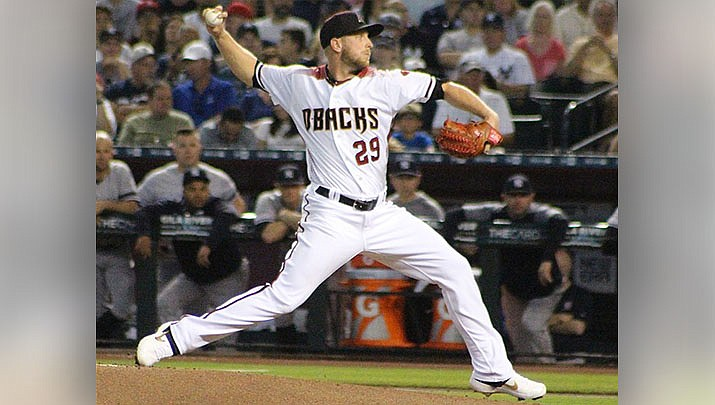 Pitcher Merrill Kelly and the Arizona Diamondbacks beat the Chicago Cubs 6-5 in a Major League Baseball game played on Sunday, July 18 in Phoenix. (Photo by Barry Stahl, cc-by-sa-2.0, https://bit.ly/3xesLNX)t