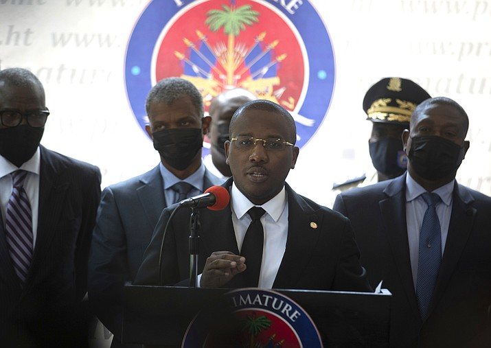 Haiti's interim Prime Minister Claude Joseph gives a press conference in Port-au-Prince, Friday, July 16, 2021, the week after the assassination of Haitian President Jovenel Moïse's on July 7. (Joseph Odelyn/AP)