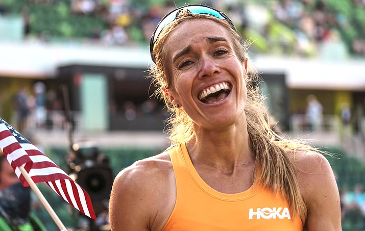 Rachel Schneider finished the 5,000 meters with a time of 15:29:56 at the Olympic Trials to qualify for the 2021 Tokyo Olympics. (Photo credit Justin Britton)