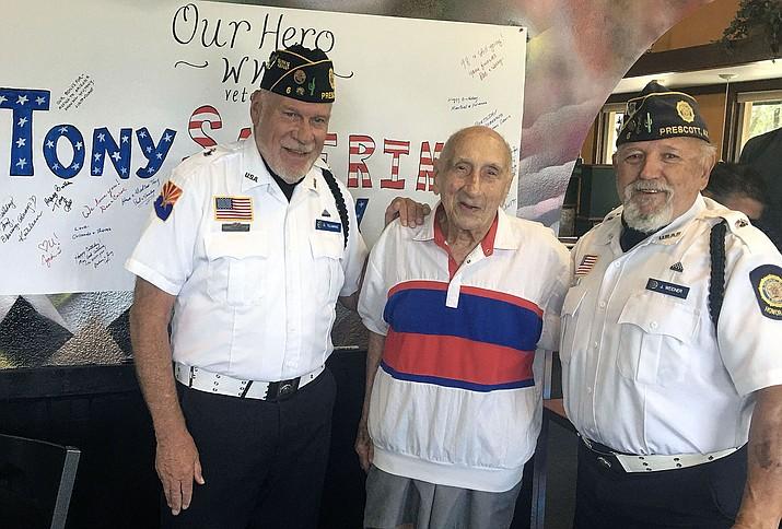 Tony Saverino, center, celebrated his 98th birthday Saturday, July 17, 2021. (Shera Nicolella/Courtesy)