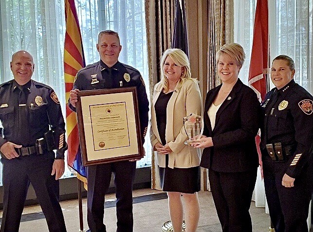 Prescott Police Department's accreditation team at the annual Arizona Chiefs of Police Association Law Enforcement Summit held in Flagstaff on July 14, 2021. Pictured from left are:  Lt. Jason Small, Lt. Jon Brambila, former Chief of Police Debra Black, Accreditation Manager Stacy Olson and Chief of Police Amy Bonney. (Prescott PD/Courtesy)