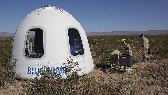 Jeff Bezos became the second billionaire in a week to blast off into outerspace in his own rocket on Tuesday, July 20. The crew capsule from his Blue Origin New Shepard rocket is pictured after a test flight. (Photo by NASA/Public domain)