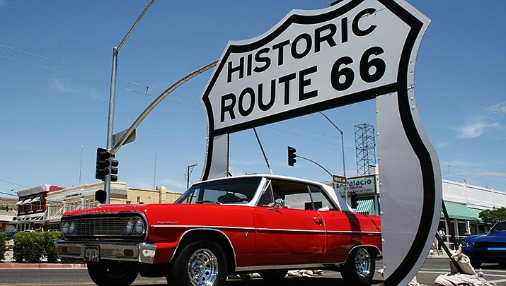 The dedication ceremony for Kingman's new Route 66 Drive-Thru Shield at the Powerhouse Visitor Center will be held from 5–8 p.m. Saturday, July 24, and is set to include music and a car show. (Courtesy photo)