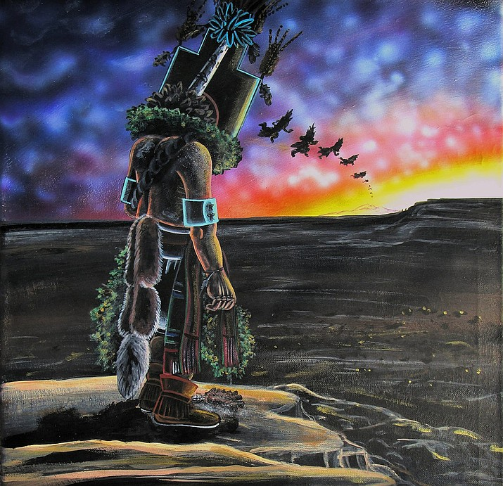 """Travis Tubinaghtewa, Deer Clan from Sitsomovi. Title: """"When you go home take our prayers with you. There on that mountain remember us always."""" (Image used with permission from artist)"""