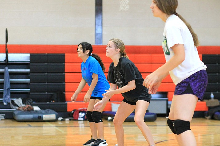 Vikings volleyball players spend time on the court July 15 in preparation for the 2021-22 season. (Wendy Howell/WGCN)