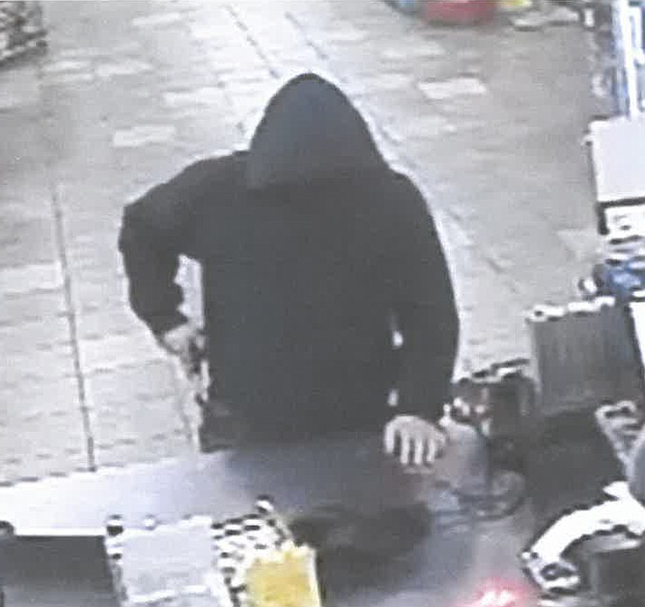 An unidentified male described to be 30 to 40 years of age allegedly robbed a gas station on the 1600 block of State Route 260 just off Interstate 17 on Friday, July 16, 2021. The Camp Verde Marshal's Office is looking for information on the man and Yavapai County Silent Witness is offering a $600 reward if an arrest is made. (CVMO/Courtesy)