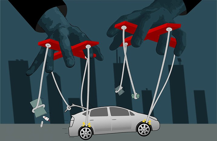 Rideshare and food delivery work became even riskier during COVID-19, which put thousands of people out of jobs. (Illustration by Zach Van Arsdale/News21)