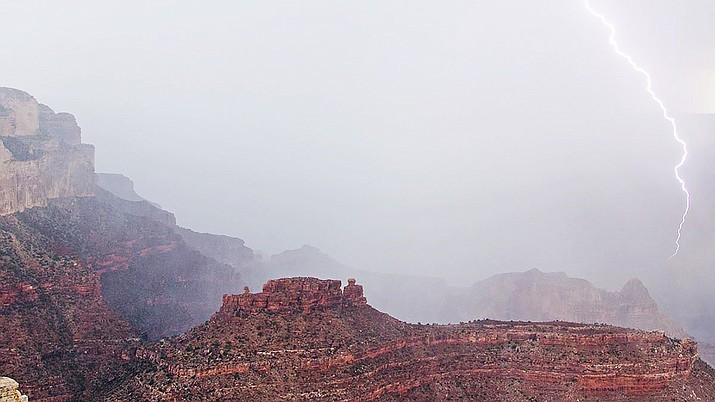 Lightning flashes along the cliffs and buttes of Grand Canyon National Park. (Photo/M. Quinn, NPS)
