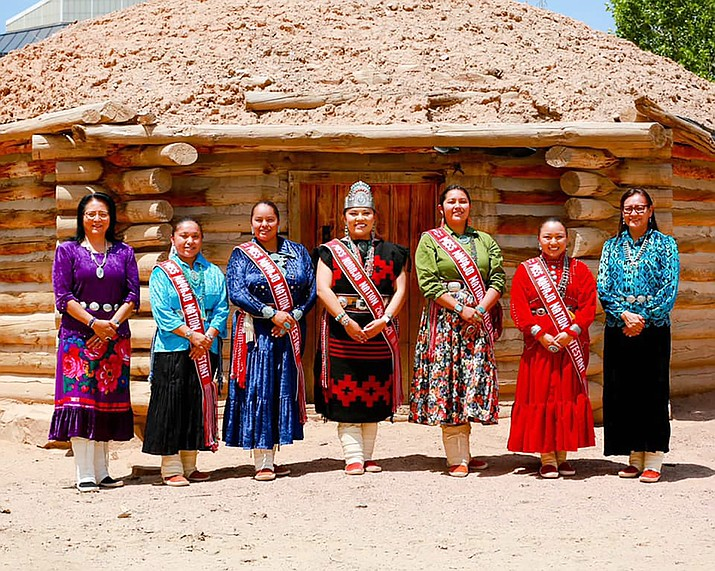 First Lady Phefelia Nez (far right) and Second Lady Dottie Lizer (far left) visit with contestants for the 69th annual Miss Navajo Nation Pageant. From left: Oshkaillah Lakota IronShell, Niagara Aveda Chanel Rockbridge, Miss Navajo Nation Shaandiin Parrish, Shandiin Hiosik Yazzie and Gypsy Pete. (Photo courtesy of the office of the President)