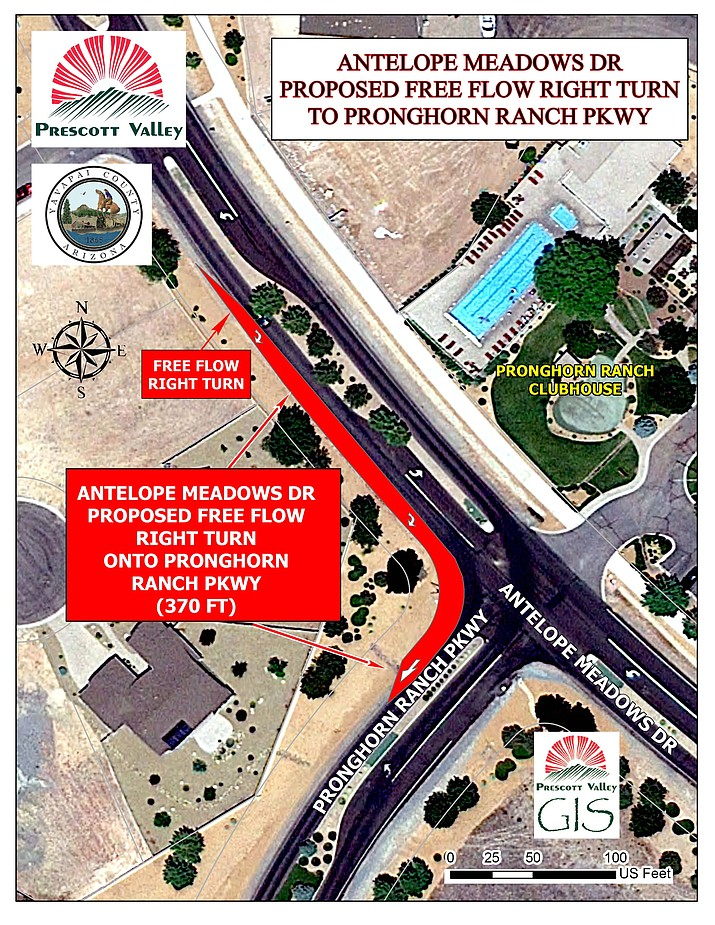 Map of proposed Antelope Meadows Drive free-flow right turn onto Pronghorn Ranch Parkway. (Town of Prescott Valley/Courtesy)