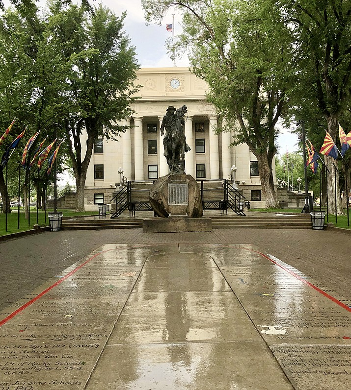 Rainstorms have been occurring regularly for the past two weeks or so, and on Wednesday, July 21, 2021, a steady downpour made for wet streets and sidewalks on the Yavapai County Courthouse plaza in downtown Prescott. So far in July, the rainfall has totaled nearly five inches at the Sundog weather station. (Cindy Barks/Courier)