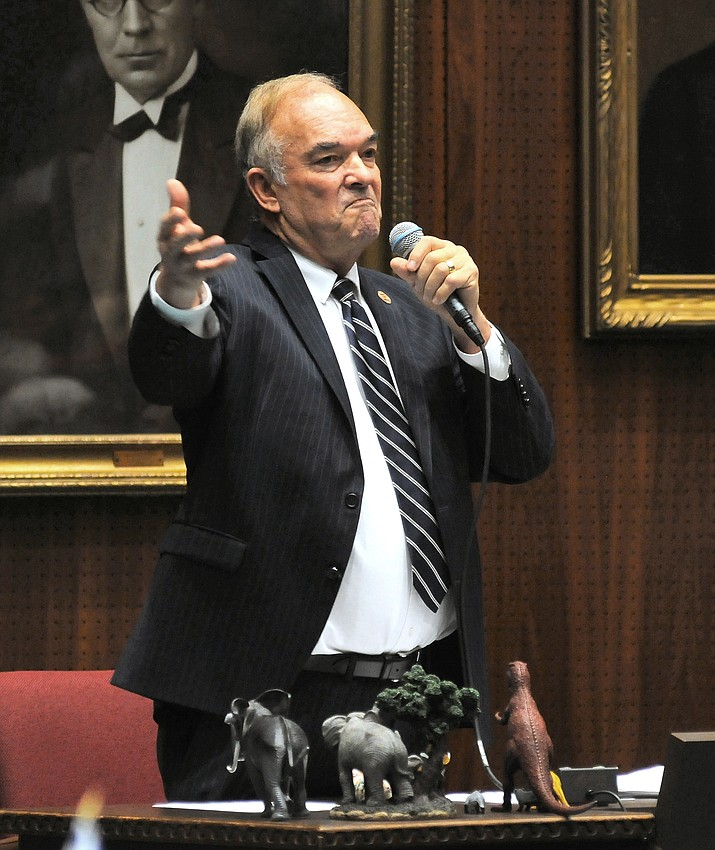 Rep. Don Shooter, R-Yuma, addressing his colleagues in 2018 as they voted to expel him from the state House. (Howard Fischer, Capitol Media Services file)