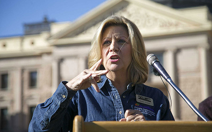 Sherri Collins, executive director of the Arizona Commission for the Deaf and the Hard of Hearing, shares remarks in American Sign Language in 2019. The commission is partnering with Arizona State University's Speech and Hearing Clinic to provide a year's worth of hearing care to those who qualify. (ACDHH/Courtesy via Cronkite News)