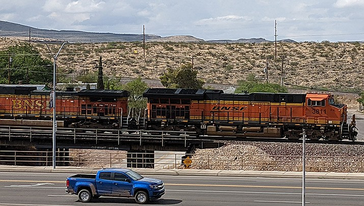 A Kingman man was struck and killed by a train on Saturday as he reportedly sat on the railroad tracks near the 2100 block of Andy Devine Avenue. A freight train traveling through Kingman is pictured. (Photo by Travis Rains/Kingman Miner)