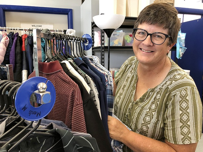 Laurie Marley is the family resource specialist for the Chino Valley School District. Her room is located on the high school campus, full of clean items ranging from clothing and book bags to supplies students may need. (Corrina Sisk-Casson/Review)