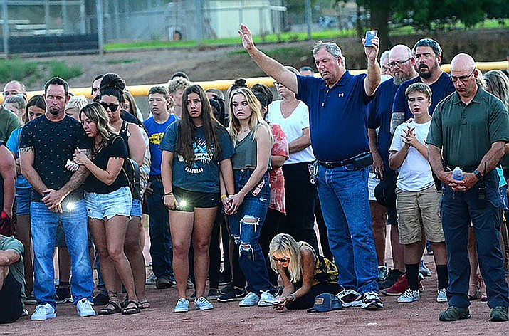 Hundreds of people from the Verde Valley turned out from the community on Monday, July 26, 2021, to join family members for a prayer vigil for Faith Moore, the 16-year-old who was swept away in the flood on Saturday night, July 24. (Vyto Starinskas/Independent)