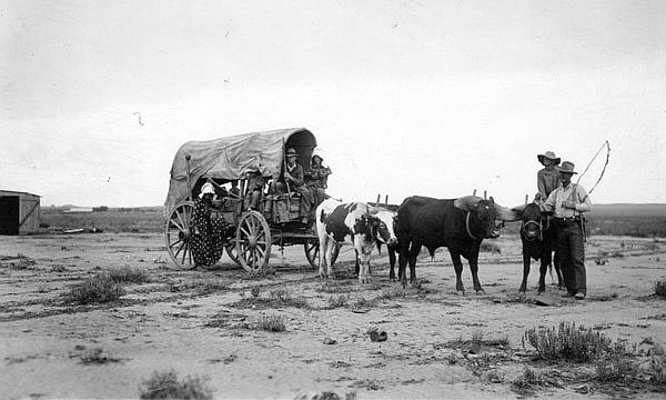 The P.A. Bushman family from Young, Arizona travels through Holbrook to the Pioneer Celebration at Winslow, Arizona July 3-5, 1931. (Photo/Ford Platten Collection/Arizona Historical Society)
