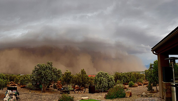 Kingman-area resident Jennie Kendrick captured this photograph of a dust storm on Sunday, July 25. There is a possibility of showers and thunderstorms Thursday through Monday, according to the National Weather Service. (Courtesy photo by Jennie Kendrick)