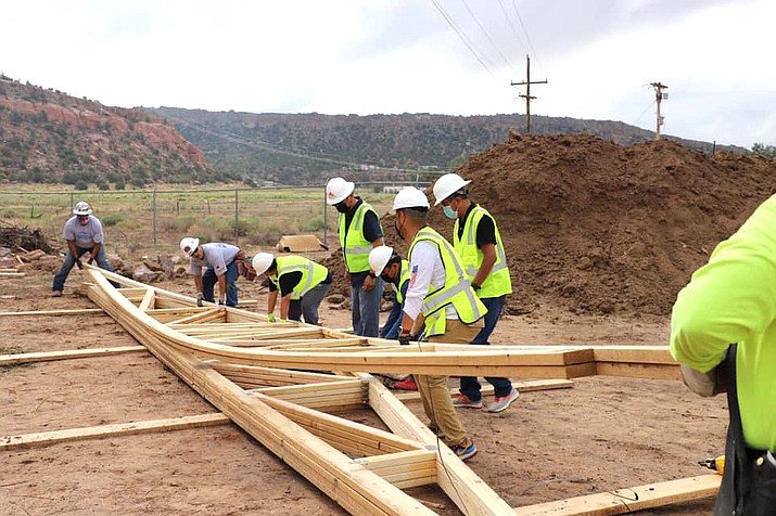On July 24, the construction of the first hogan-style home prototype was celebrated in Tse Bonito, New Mexico. The prototype will serve as a model for potential Navajo homeowners. (Photo/Office of the Navajo Nation President and Vice President)