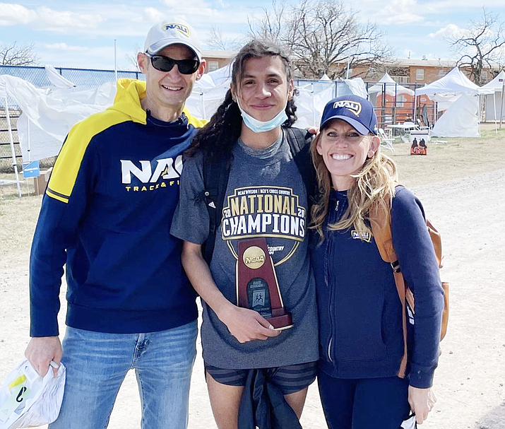Luis Grijalva (center), a NAU runner and DACA recipient, just learned he will be able to travel to the Olympics and compete. (Photo courtesy Luis Grivjalva Instagram)