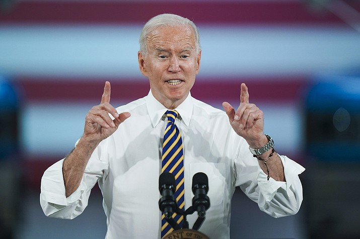 President Joe Biden speaks during a visit to the Lehigh Valley operations facility for Mack Trucks in Macungie, Pa., Wednesday, July 28, 2021. (Matt Rourke/AP)
