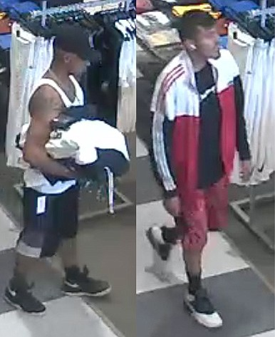 Video surveillance shows both suspects of a reported shoplifting incident at Dick's Sporting Goods in Prescott Valley on Tuesday, July 27, 2021. (PVPD/Courtesy)