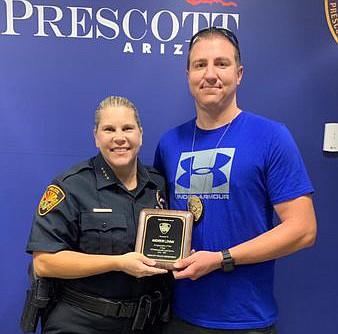 Prescott Police Chief Amy Bonney and Andrew Lovan. (Prescott Police Department/Courtesy)