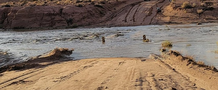 A wash on the Hopi Reservation is flooded in recent monsoon storms. (Submitted photo)