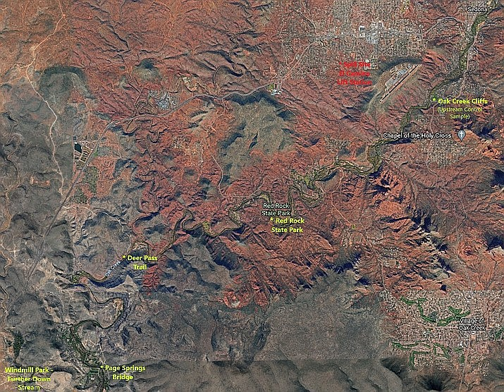 A map shows where the raw sewage spill occurred at the El Camino Lift Station in Sedona. It is estimated approximately 1,500 gallons of untreated liquid effluent spilled into a nearby wash. That wash flows into Carroll Canyon Wash, which ultimately drains into Oak Creek near the Crescent Moon Ranch area, approximately 2.7 miles downstream. (City of Sedona/Courtesy)