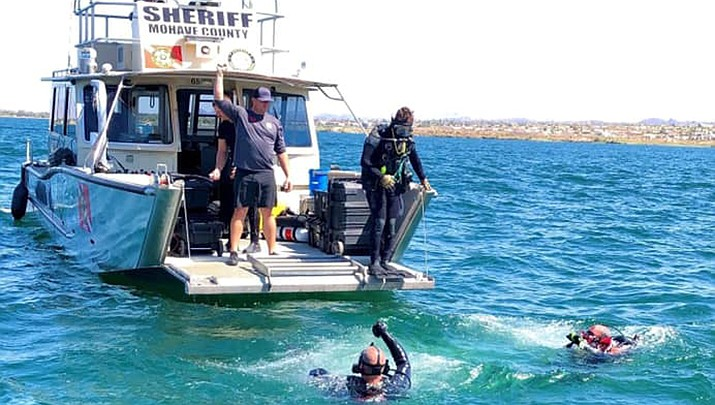 The search continues for a person believed to have drowned in the Colorado River while swimming for the Mohave County-owned Davis Camp park below Davis Dam in the Colorado River at Bullhead City. (MCSO photo)