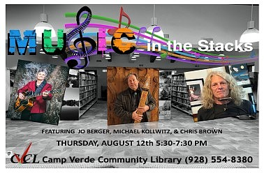 Music in the Stacks returns at 5:30 p.m. Thursday, Aug. 12, in Camp Verde Community Library's fireside room. Music in the Stacks is a showcase of local and national musicians who entertain regularly in northern Arizona. (Camp Verde Library/Courtesy)