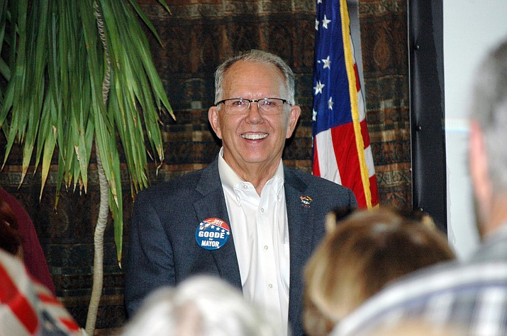 Prescott City Councilman Phil Goode is all smiles at the Hassayampa Inn on Tuesday, Aug. 3, 2021, after learning of his victory in the Primary Election for Prescott mayor. According to unofficial results, Goode unseated current Mayor Greg Mengarelli. (Doug Cook/Courier)