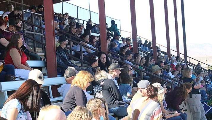 Gun shows have been temporarily suspended at the Mohave County Fairgrounds after a weapon was accidentally discharged at a recent show. The grandstands at the fairgrounds are pictured. (Miner file photo)