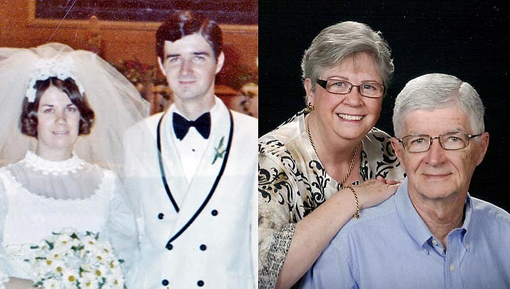 Gene Moore and Linda Bauslaugh were married on Aug. 21, 1971, at Redeemer Baptist Church, in Warren, Michigan; pictured then and now. (Courtesy photos)