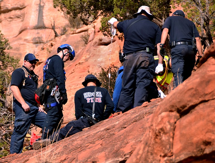This 2017 file photo shows a rescue of a hiker in Sedona. Hiking can be dangerous in Arizona if a person is not prepared. (Independent file photo)