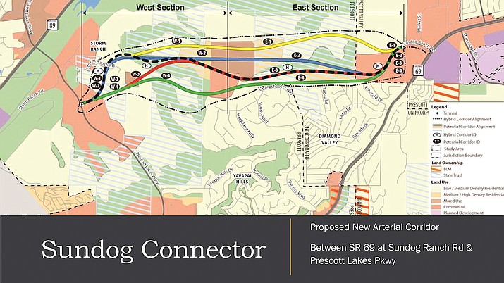 A 2013 study recommended a route for the Sundog Connector, which would run from Prescott Lakes Parkway at the roundabout near the Yavapai County Juvenile Justice Center to Highway 69 in Prescott Valley near the Hobby Lobby store. The recommended route is shown in the bold dashed line on the map. (CYMPO/Courtesy)