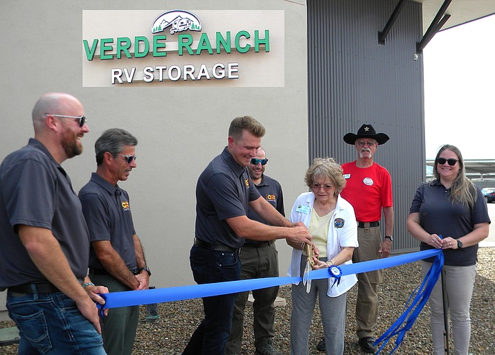 Verde Ranch RV Storage, 162 N. Goswick Way, Camp Verde, celebrated their ribbon cutting ceremony Aug. 9, 2021, hosted by the Camp Verde Chamber & Business Alliance. They were accompanied by Jerrod Hildebrandt, RV storage manager; Ben Rubin, CRR chief executive officer; Blake Carroll, Provident Real Estate Development; Mike Harrison, CRR vice president of operations; Camp Verde Councilmember Jackie Baker; Camp Verde Chamber Board Member Richard Ellis; Erin Forrest, CRR corporate director of sales and marketing. (Sheri Hauser/Courtesy)