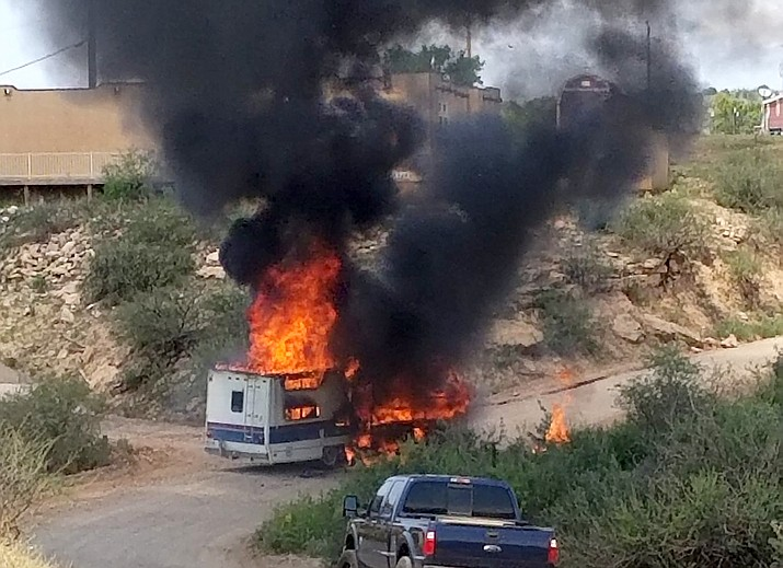 An RV was destroyed on Bice Road in Camp Verde on Friday, Aug. 13, 2021, while in transit. (Jim Andrus/Courtesy)