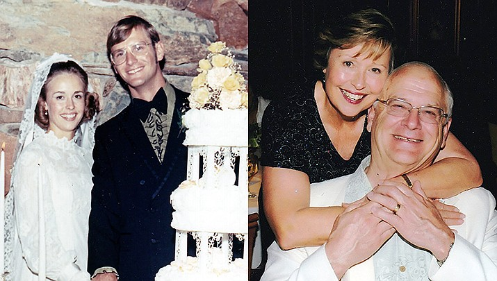 Craig Wright and Carol Fagan Dombey of Prescott were married Aug. 7, 1971, in Phoenix. Pictured here, then and now. (Courtesy photos)