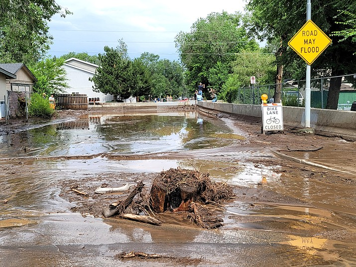 Flooding seen in late July in Flagstaff as a result of runoff from the Museum Fire Burn Scar. (Photo/Coconino County)