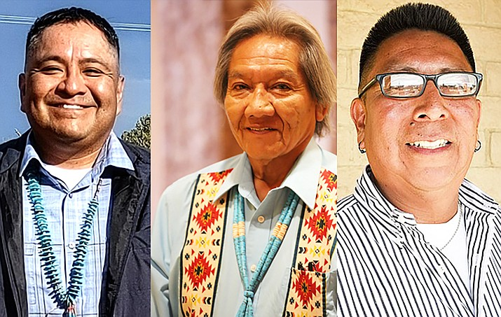 Candidates for the 2021 election for Hopi Tribal Chairman. From left: Andrew Qumyintewa, David N. Talayumptewa and Timothy Nuvangyaoma. Not pictured is Alfred Lomahquahu Jr., who is also a candidate for chairman. (Submitted photos)