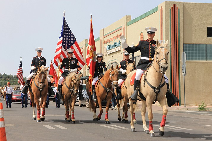 Members of the Marine Corps ride down main street in Williams during the 2020 Patriot Day parade. (Wendy Howell/WGCN)