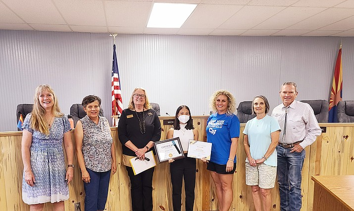 The Camp Verde City Council recognized Johana Pena for winning a Yavapai College Film & Media Arts Scholarship for a video she produced about her beloved older brother's deportation. (YC/Courtesy)