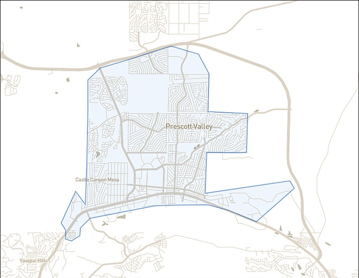 In the beginning, Prescott Valley's proposed micro-transit area of coverage under Phase 1 calls for one town-owned vehicle and one non-dedicated taxi/livery company vehicle to serve a 14-square-mile zone (as shown here) with a 15-minute wait time for rides. Each town-owned, front-wheel drive vehicle would be a wheelchair-accessible van with room for eight passengers and two wheelchairs. Town officials expect more specifics on the program to be announced in September. (Town of Prescott Valley/Courtesy)