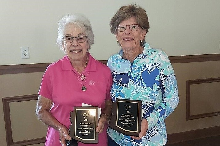 The Northern Arizona Senior Women's Championship was held at Elephant Rocks Golf Course Aug. 17. Two Williams golfers emerged as the champions.  Luanne Lea (left) won low net and Janet Cothren (right) won low gross. (Photo/Sharon Gibson)