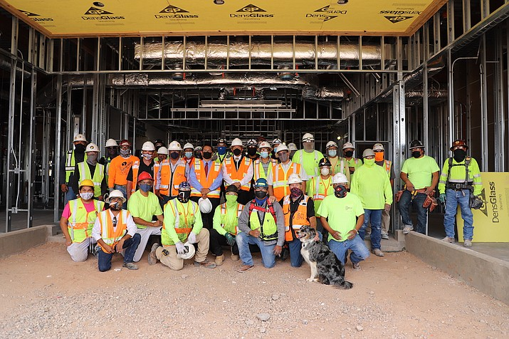 Lukachukai Community School is scheduled to open in June 2022. The new school will house new classrooms for grades K-8, a dormitory, staff housing, a gymnasium, bus and fire truck facility, water storage facility and several sports fields in the community of Lukachukai, Arizona. (Photos/OPVP)