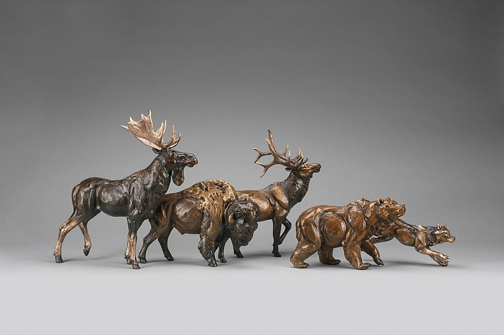 Hit Parade by Bryce Pettit, 14x40x10 bronze, Mountain Trails Gallery Sedona.
