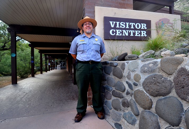 Paul Santellan, lead interpretive park ranger, stands at the entrance of the Montezuma Castle National Monument where you now can't consume alcoholic beverages. (Vyto Starinskas/Independent)